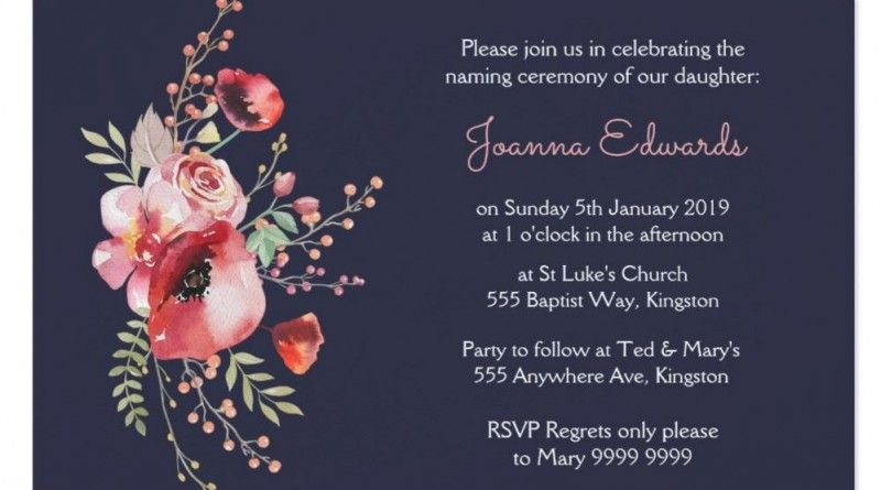 Naming ceremony invitation Naming Ceremony – Naming Ceremony Invitation Template