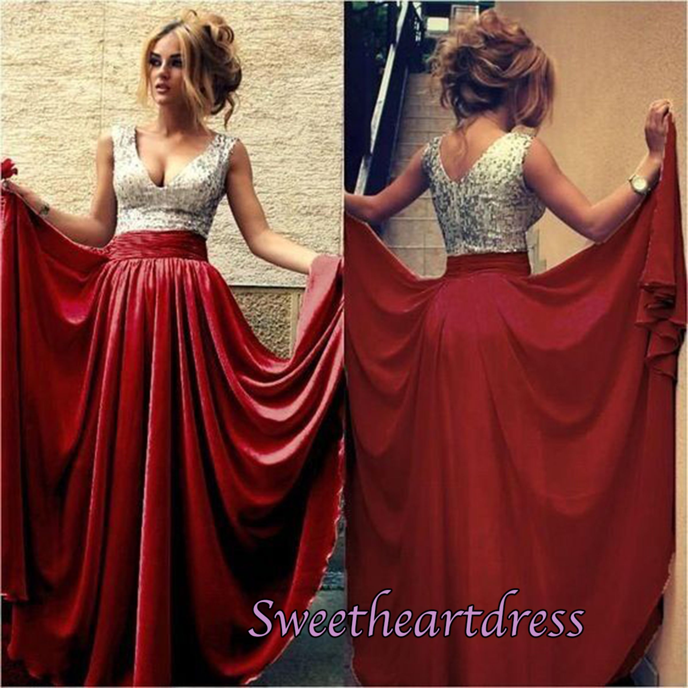 Beautiful vneck sequins top red chiffon prom dress formal dress