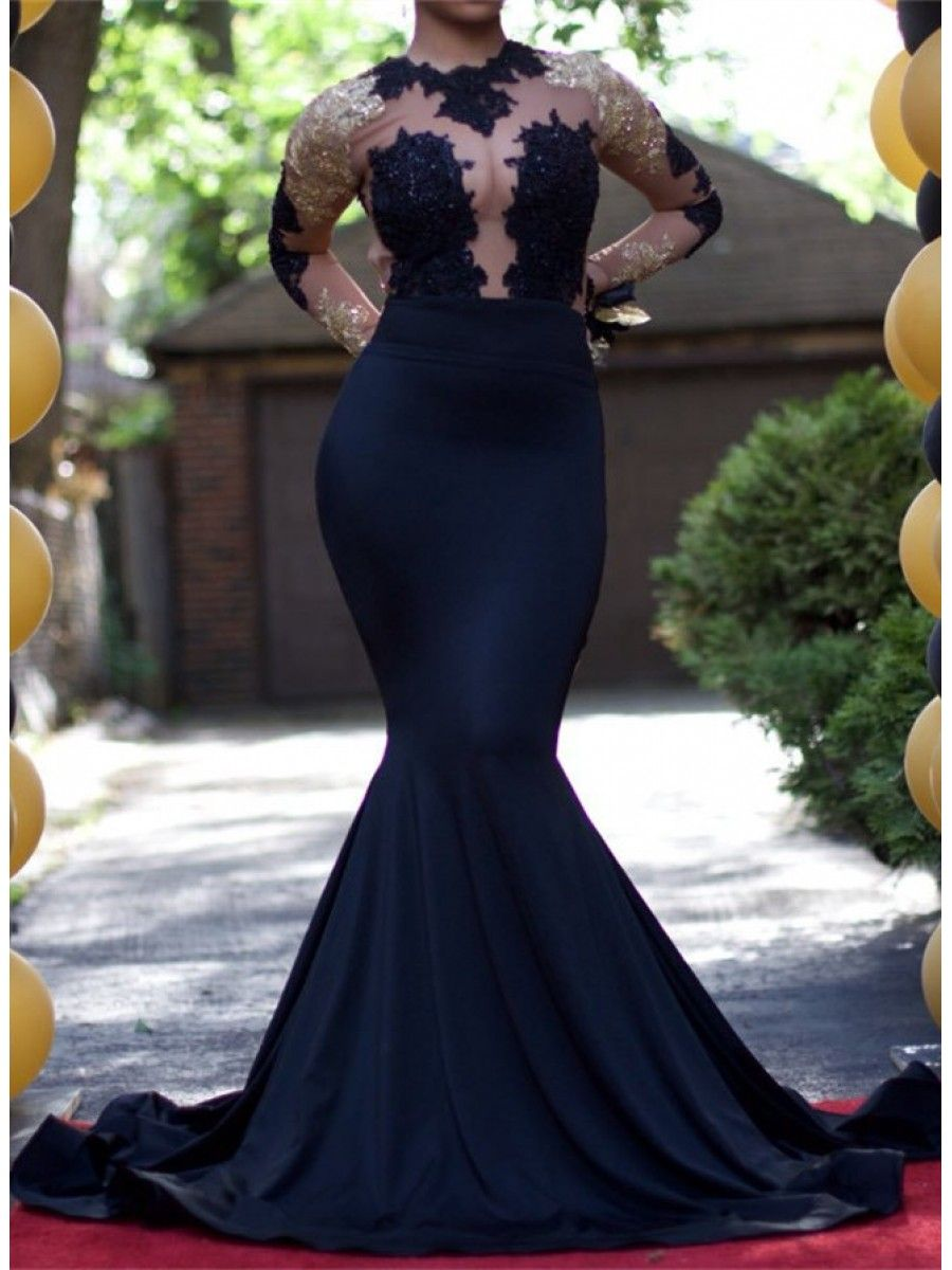 f087265f7cd3 Sexy Mermaid Long Sleeves Prom Evening Dresses with Gold Lace Appliques  99602587