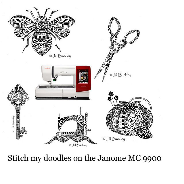 My Doodles Built In To The Janome Mc9900 Janome9900 Pinterest