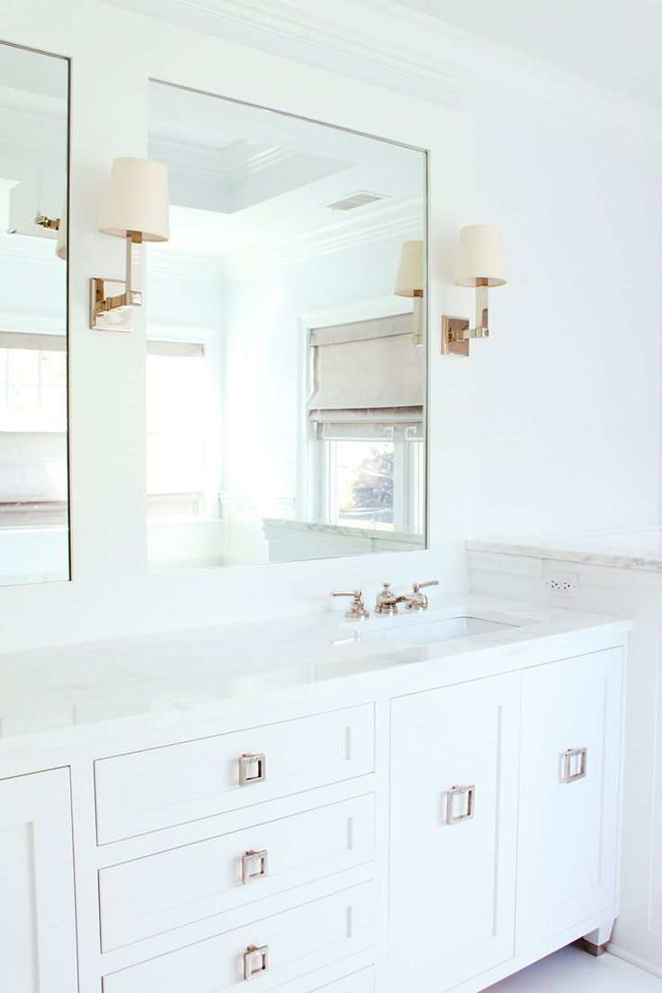 All white with metallic accents | Bathrooms | Pinterest | Bath ...