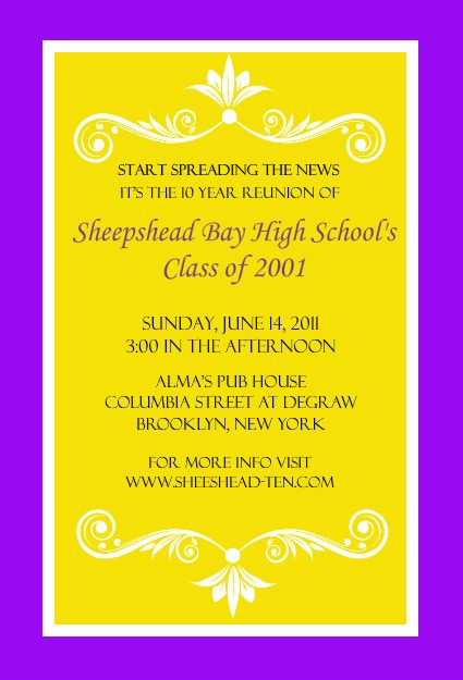 Bright Colored Class Reunion Invitation by PurpleTrail Party - class reunion invitations templates