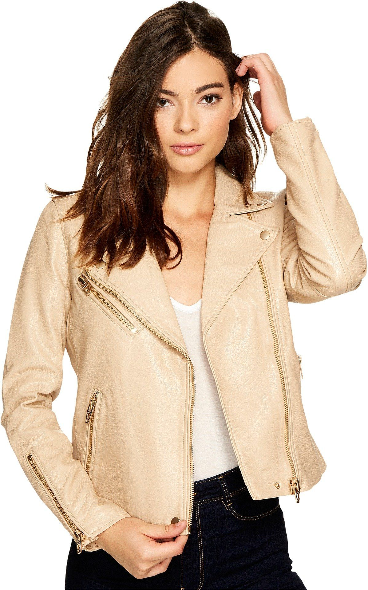 Blank NYC Womens Natural Vegan Leather Moto Jacket in
