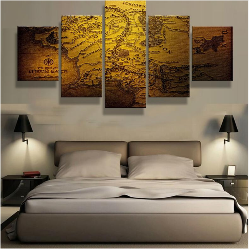 Map of Middle Earth Canvas Set | One day | Abstract canvas art