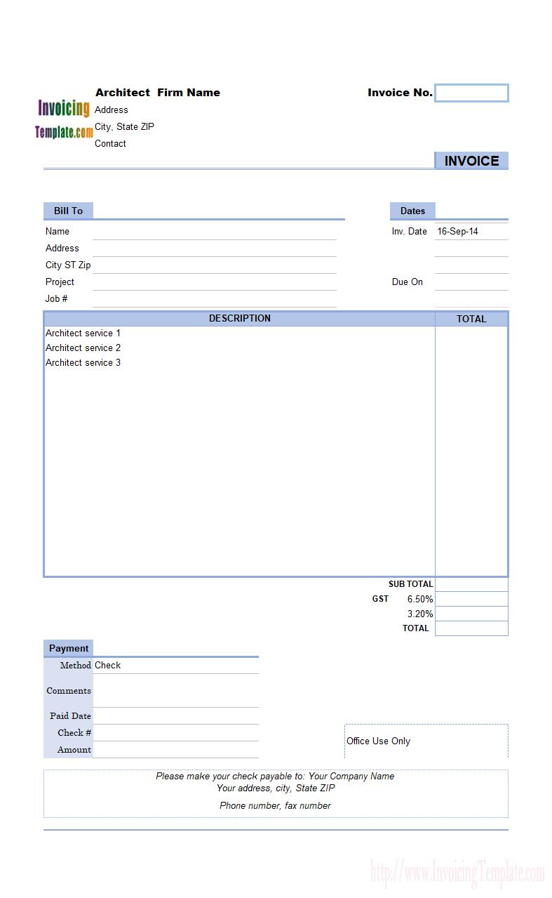 Architect Invoicing Sample Free Program Templates Invoice Template Templates