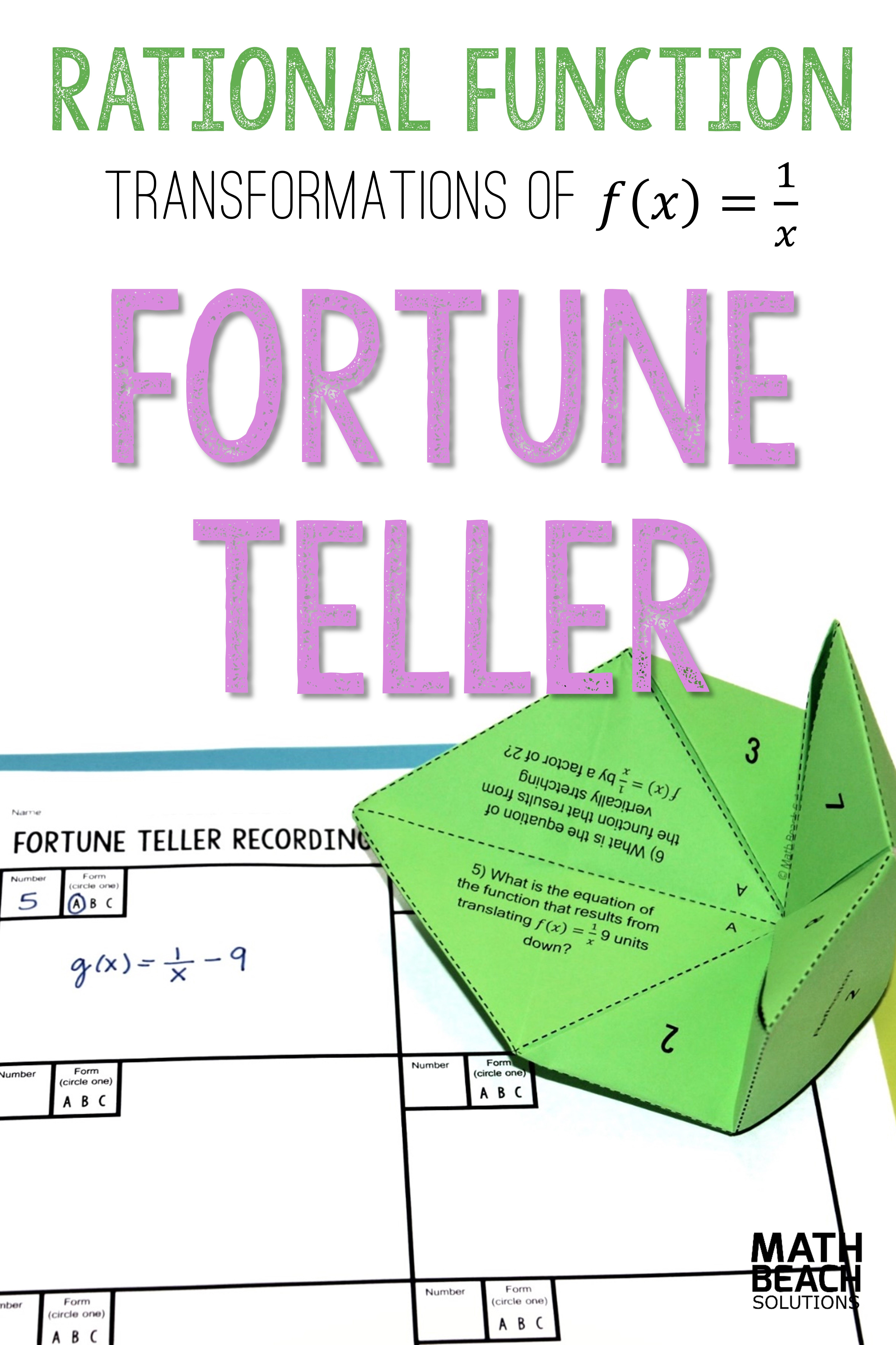 Rational Function Transformations Fortune Teller Activity