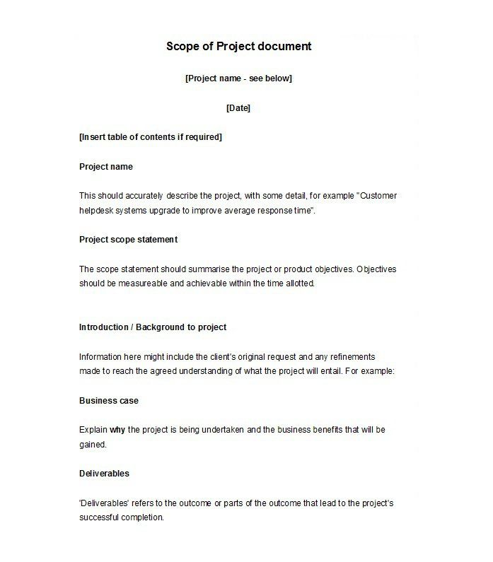 Scope Of Work Template 08 Statement Of Work Project Proposal Template Document Templates
