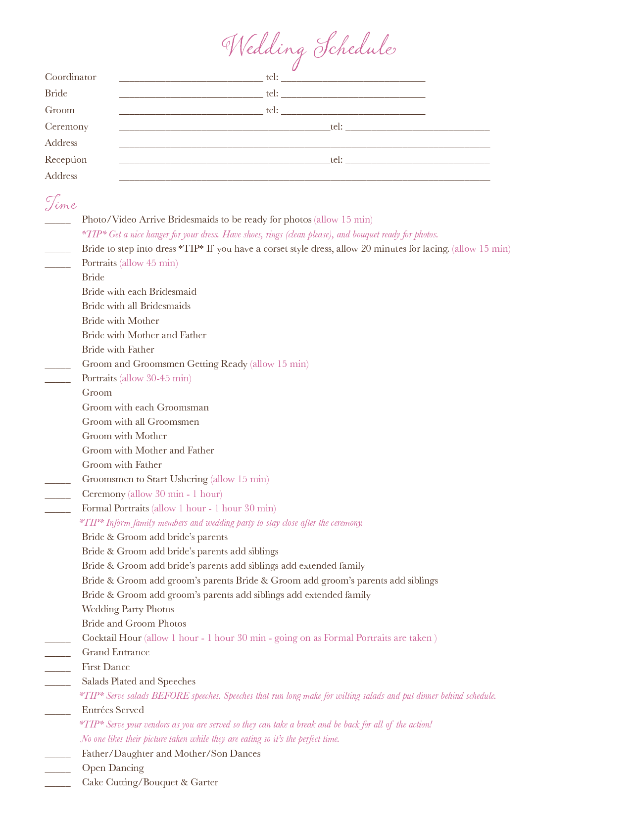 Wedding Day Schedule Templates Document Sample Shared By