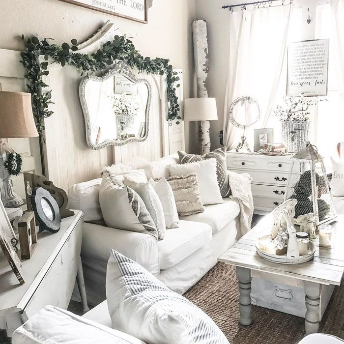 white rustic farmhouse living room ideas country home interior ...