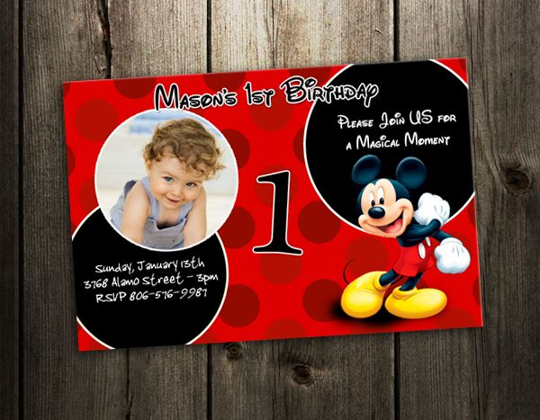 MICKEY MOUSE INVITATION BIRTHDAY PARTY CARD PHOTO RED INVITES F5- 9 DESIGNS !   eBay