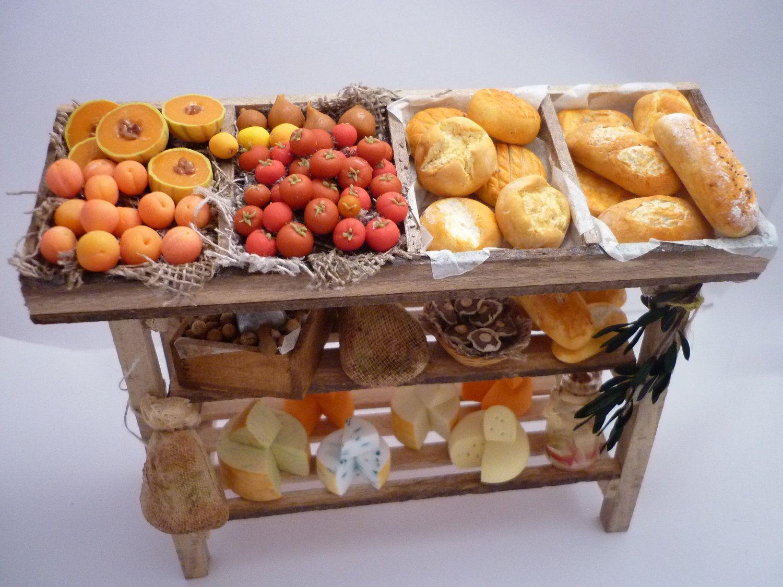 Mediterranean Stand Produce Miniature Food Last One 98 95 Via Etsy Miniature Food Dollhouse Food Food