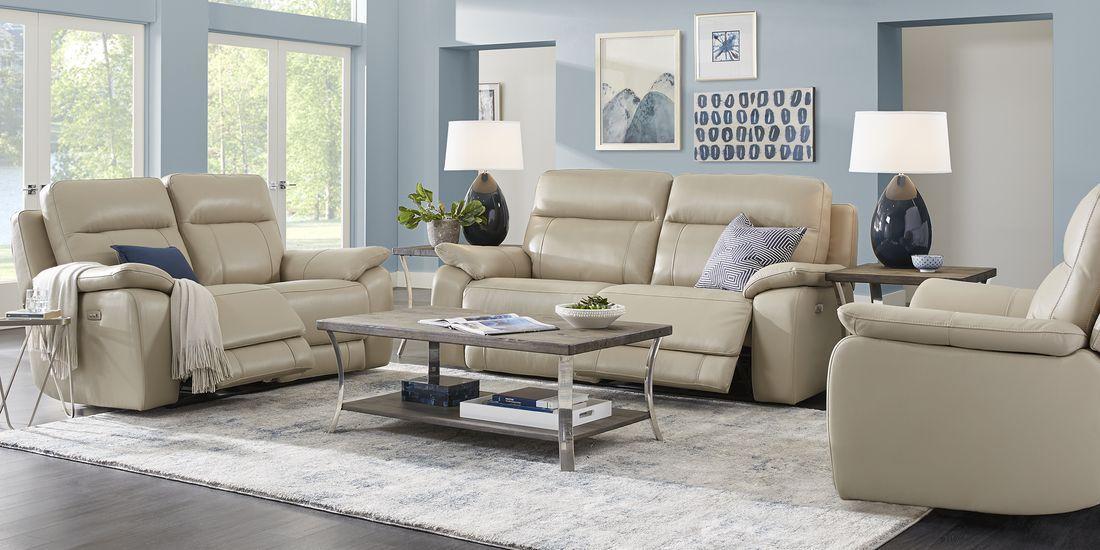 Torini Cream Leather 3 Pc Power Reclining Living Room Living Room Sets Furniture Furniture Living Room