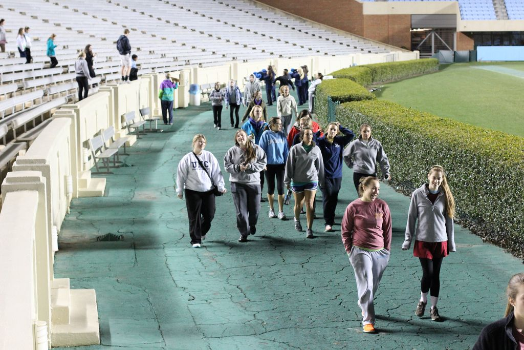 In the morning, all the dancers head outside to Kenan Stadium to watch the sunrise!