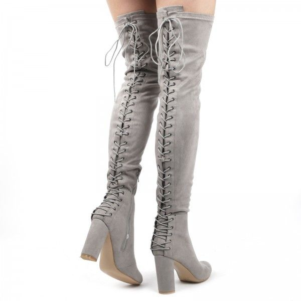 55668ee6ca5b Belle Over The Knee Lace Up Back Boots In Light Grey Faux Suede ( 53) ❤  liked on Polyvore featuring shoes