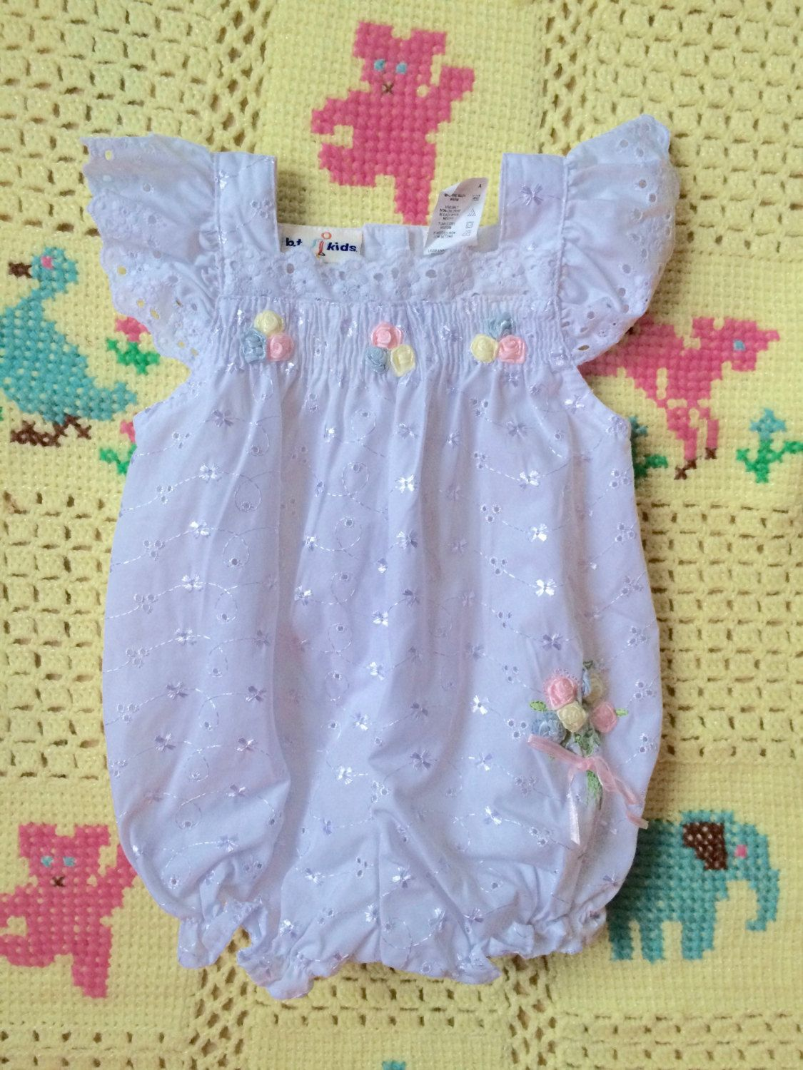 a31df268a77f Eyelet Lace Romper 3 6 Months by lishyloo on Etsy