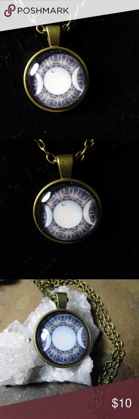 Triple Moon Goddess Pendant Bronze Necklace Moon Goddess Triple