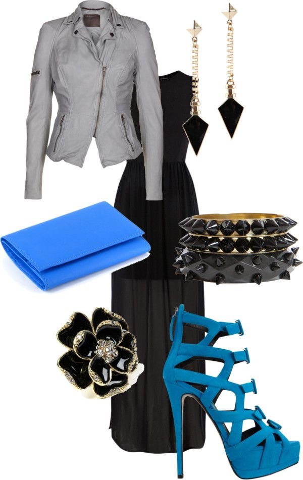"""""""Leather and blue"""" by mollylsanders on Polyvore"""