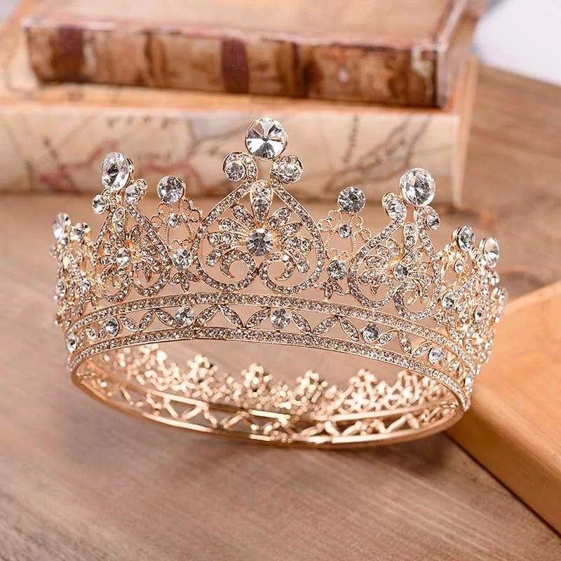 Princess Jewelry Large Full Circle Rhinestones Queen Pageant Crown Wedding Bridal Hair Jewelry Wedding Dress Accessories,Gold tiara,wedding