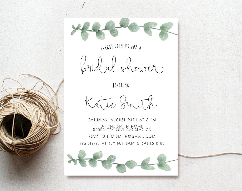 Bridal Shower Invitation Eucalyptus Watercolor Printed