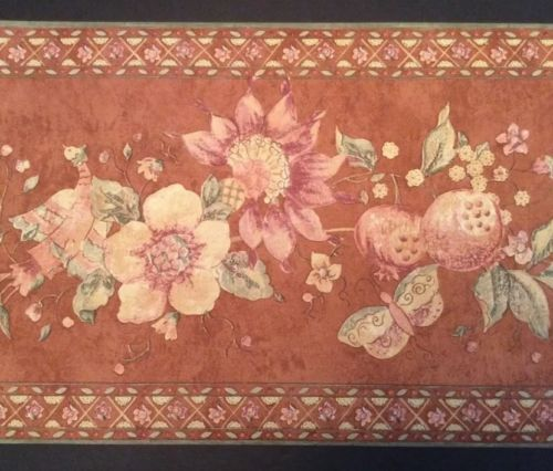 """Pomegranate Butterfly Wallpaper Border Floral 10"""" X 5 Yd ..."""
