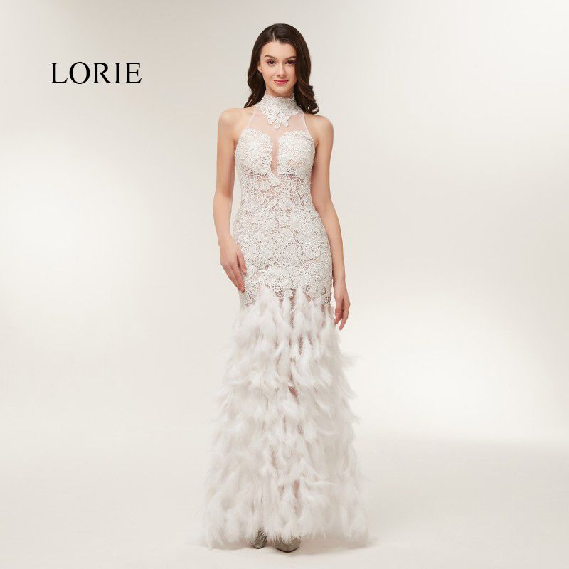 77c1c7373459 LORIE Formal Evening Dress with Feathers High Neck Appliqued Lace Backless  Mermaid Long Sexy Prom Party Gowns Free Shipping 2018