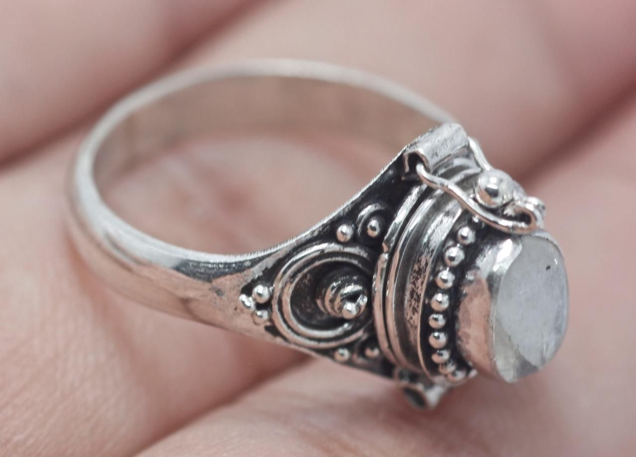 925 Solid Sterling Silver Ring Stylish Poison Box Ring All Size Available