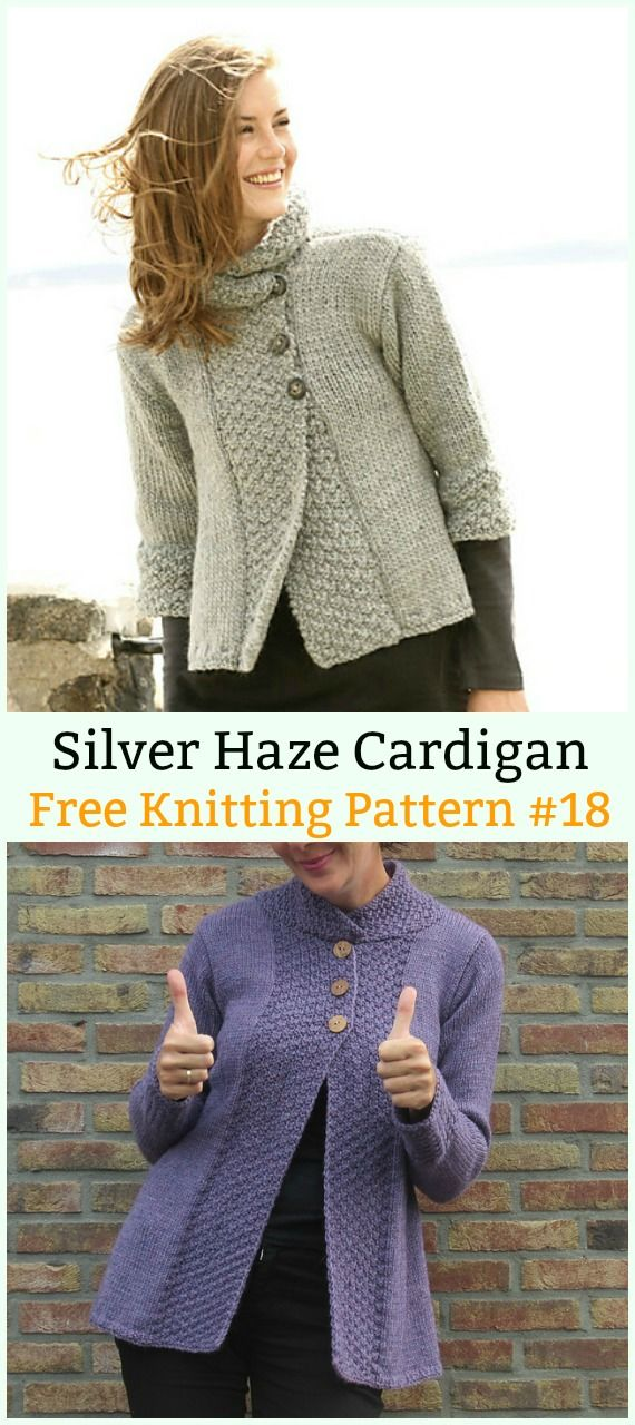 Silver Haze Cardigan Sweater Free Knitting Pattern Women Cardigan