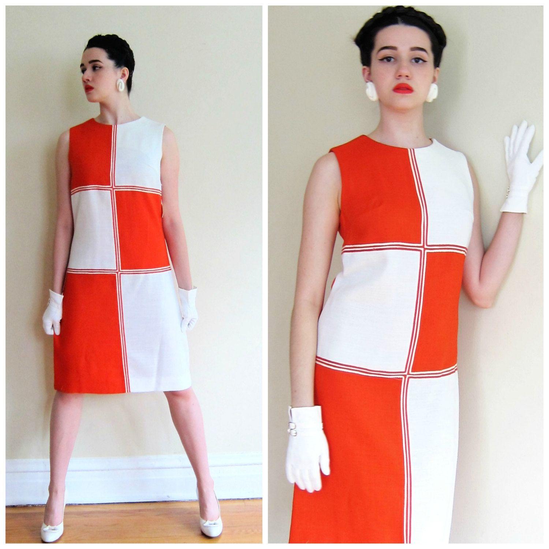Vintage 1960s Mondrian Shift Dress 60s Colorblock Squares Etsy White A Line Dress Dresses 60s Dress [ 1500 x 1500 Pixel ]