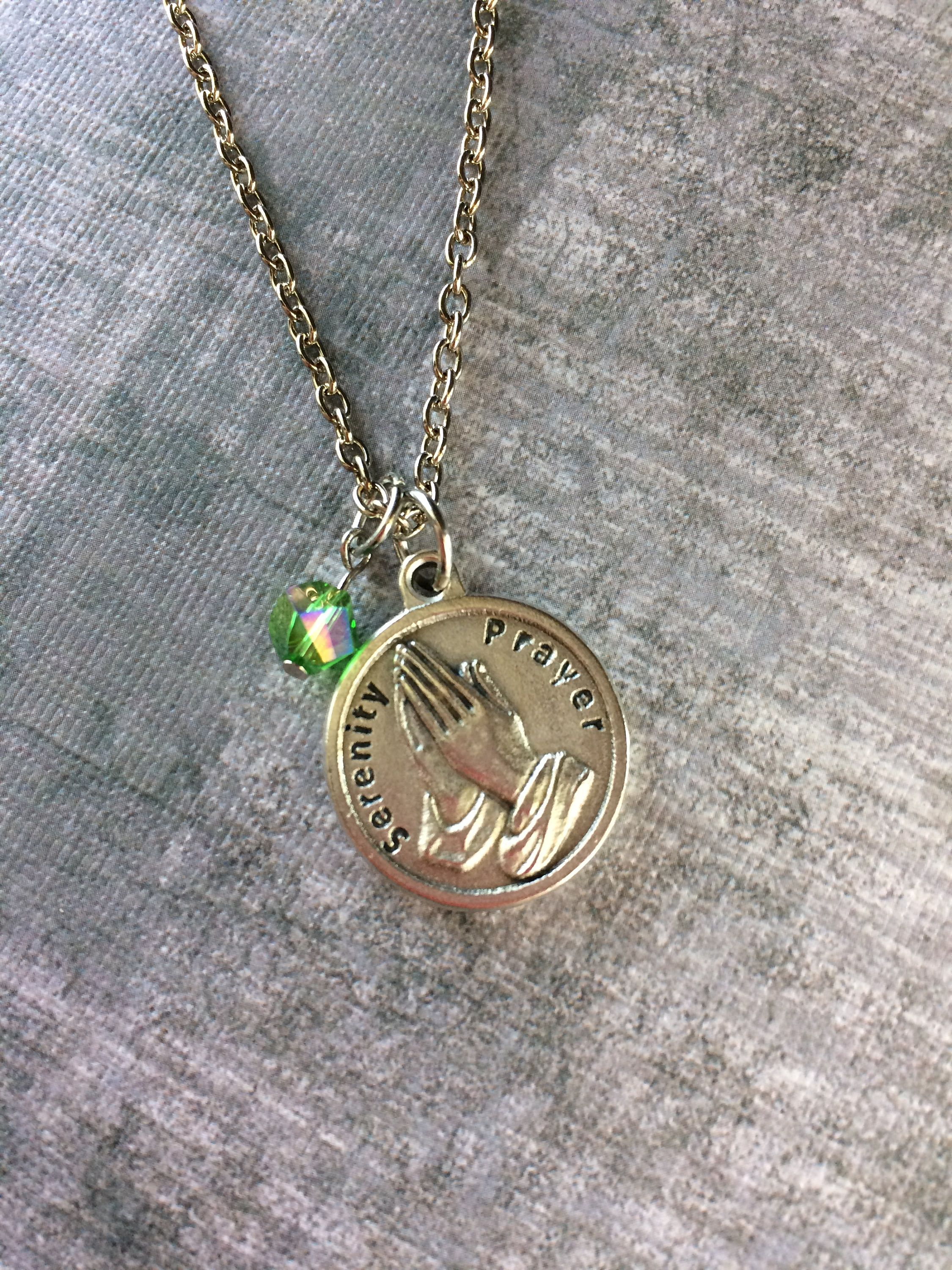 necklace pendant steel prayer stainless serenity disc