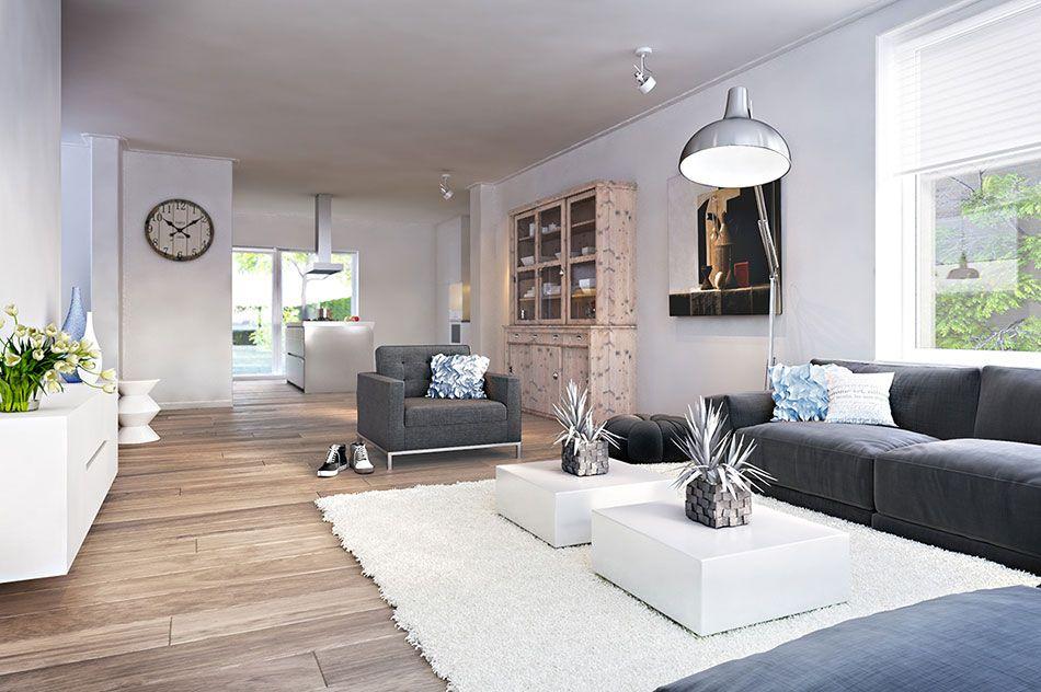 wooninspiratie woonkamer witte hoogglans meubels zwarte bank