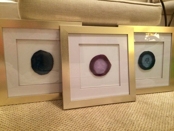 Framed Agate Slice In Gold Frame Frame Black Agate Agate