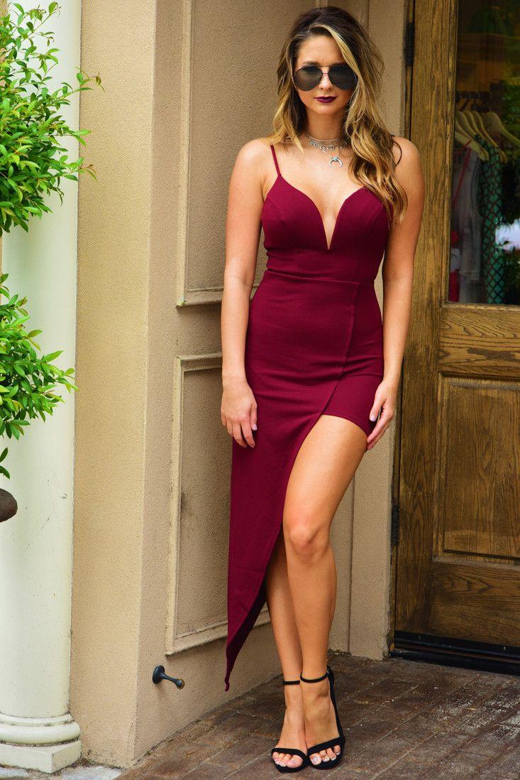 Cross Your Mind Dress Wine Dresses Fashion Hi Low Dresses