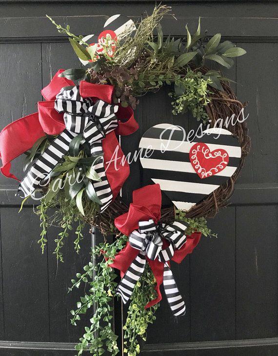 Valentines Day Wreath, Black, White, and Red Valen