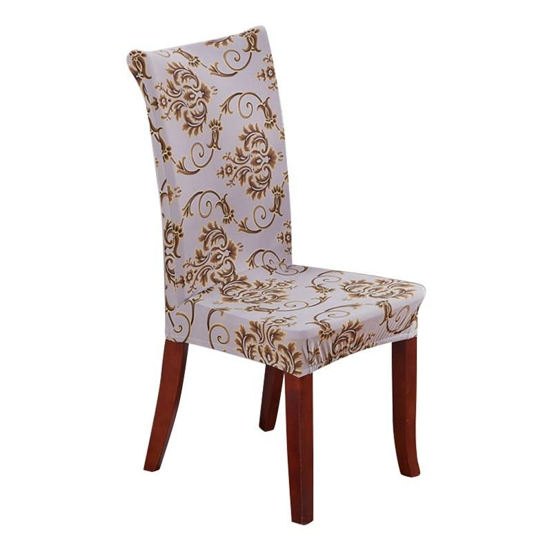 Printing Polyester Spandex Party Chair Covers Gold Elastic Dining