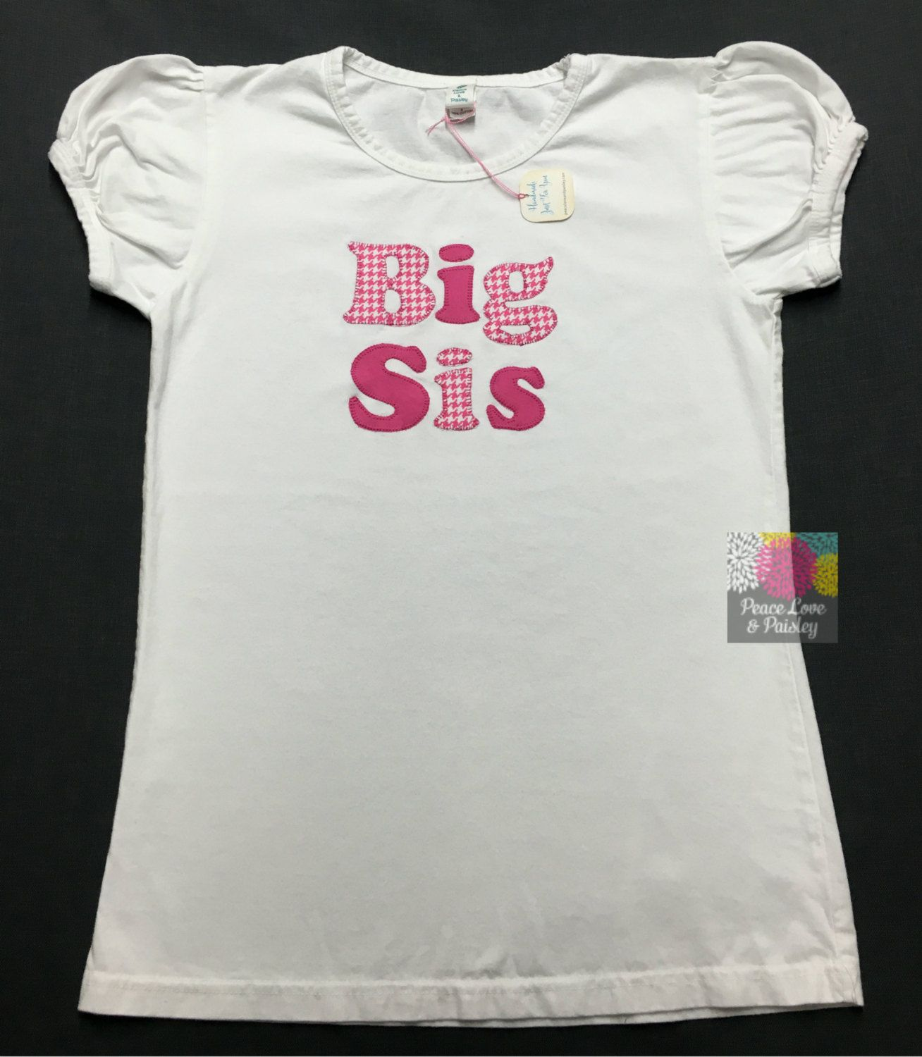 Personalized Big Sister Shirt, Sibling Shirt, Big Sis Shirt, Baby Shower Gift, New Baby Gift, Monogrammed Big Sister Shirt, Houndstooth by PeaceLoveandPaisley on Etsy