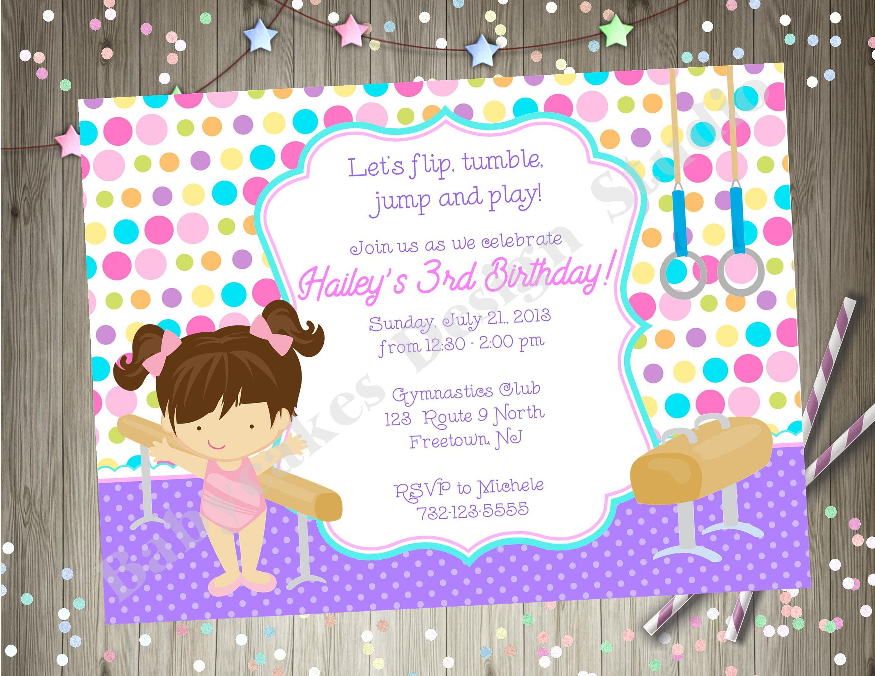 Gymnastics Birthday Party invitation Invite Gymnastics Tumbling ...