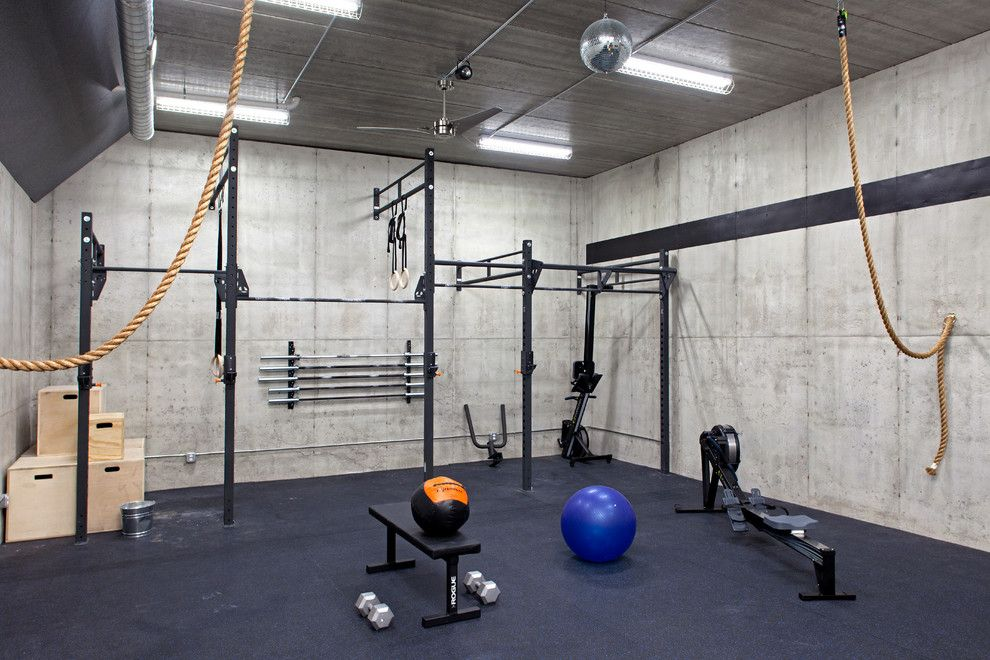 Home gym storage ideas industrial with weight