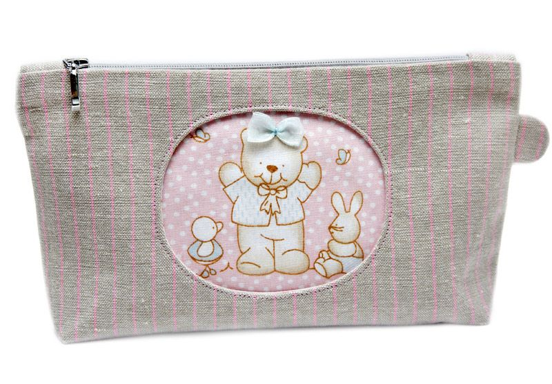 Cosmetic bag with applique bear ♢️bags purses crocheted