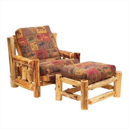 Fireside Lodge Furniture 13160 Cedar Futon Chair with Ottoman and Mattress Set