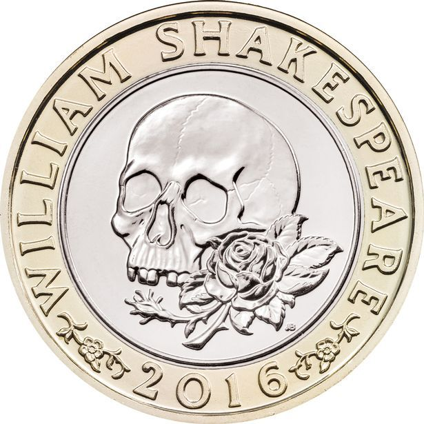 A skull representing William Shakespeare's tragedies on a new £2 coin