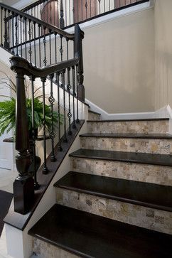 Dark Stair Treads Nearly Black With Tile On Wood Risers Make | Tile Risers On Wood Stairs | Stair Tread | Decorative | Wood Finish | Stair Outdoors | Wooden