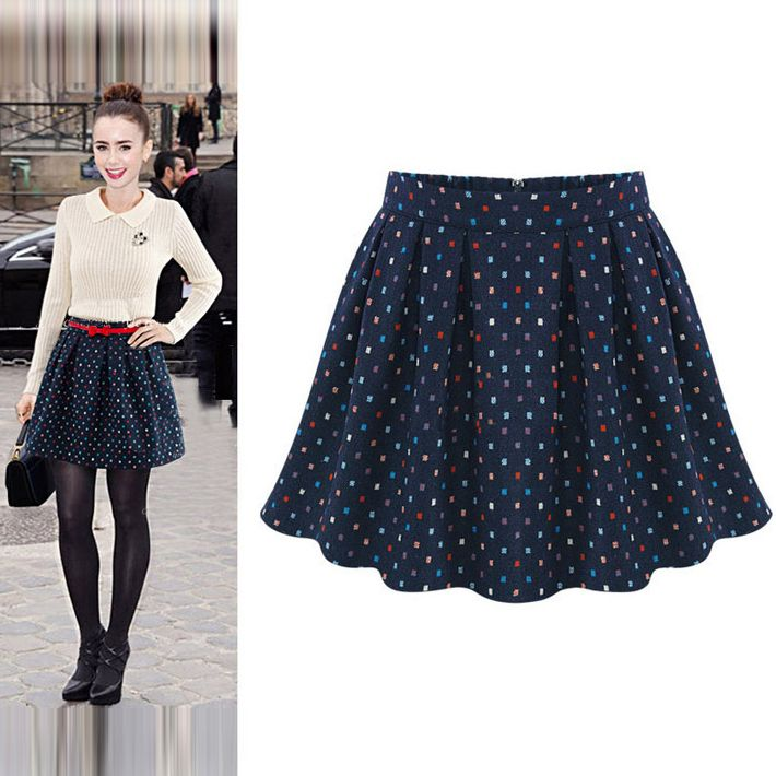 Fashion Wholesale Dots Pattern Pleated A-line Princess Skirt ...