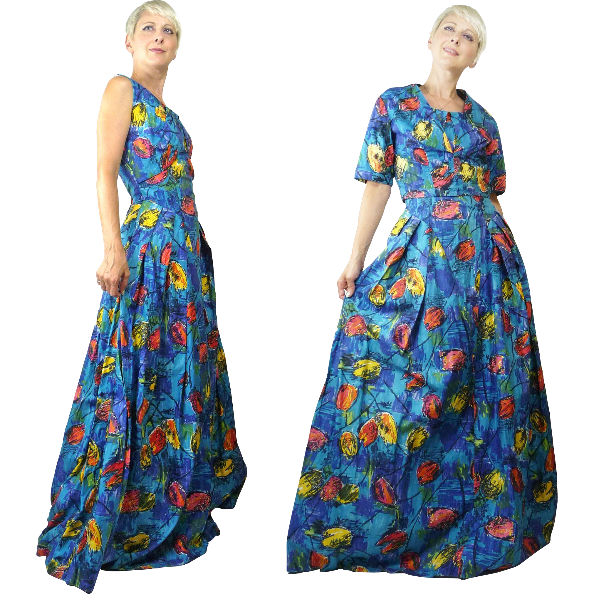 1960s Lo Roco Cotton Maxi Sun Dress With Abstract Floral