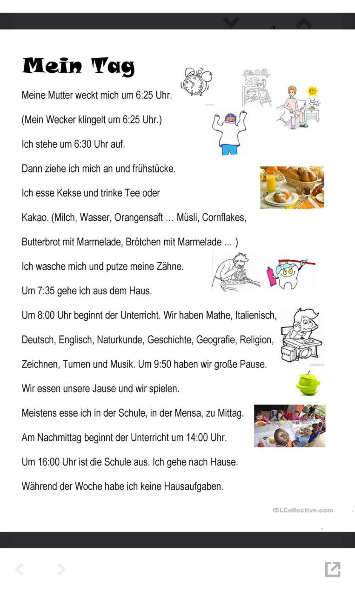 Mein Tag | német | Pinterest | Learn german, Language and German ...