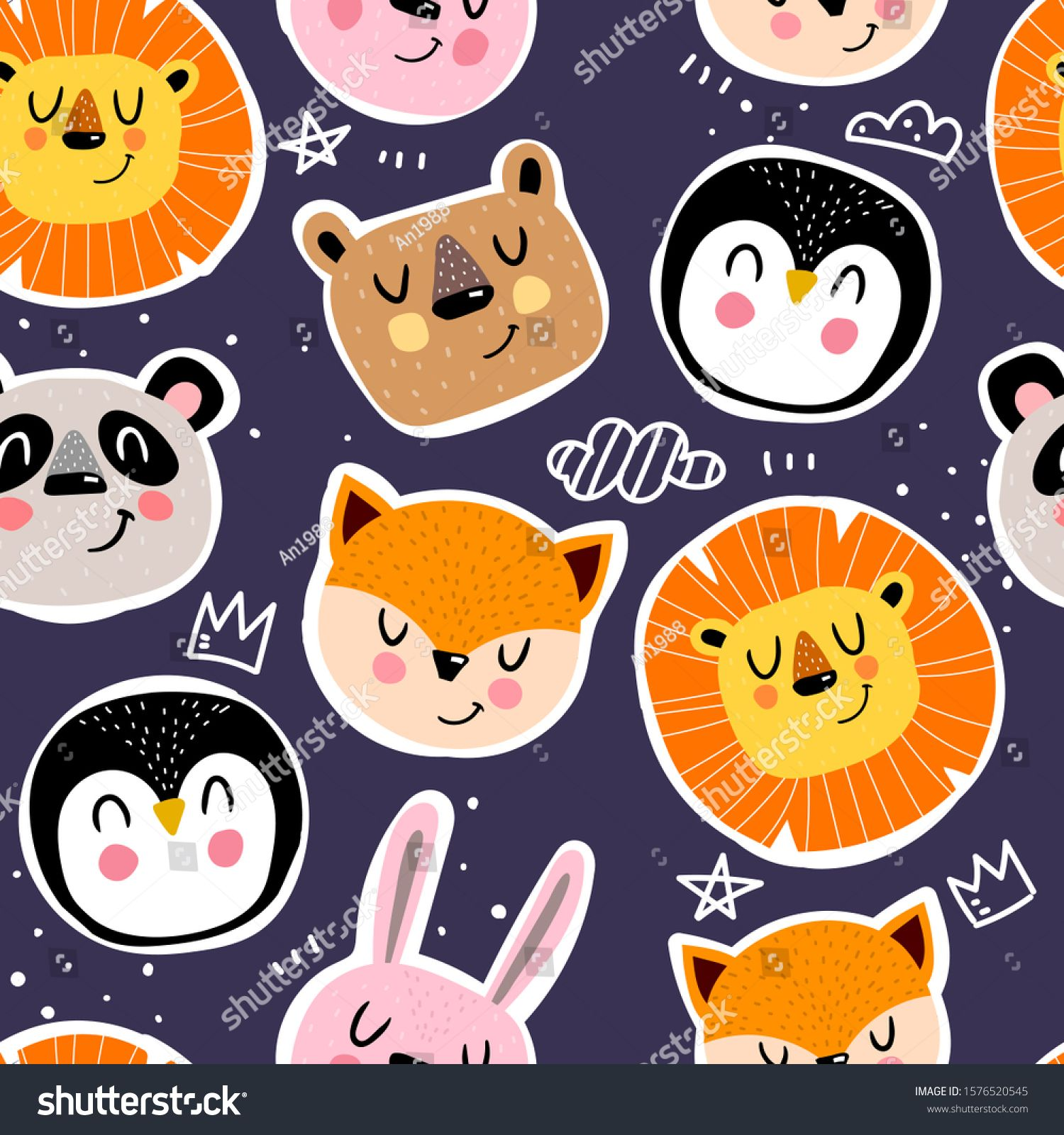 Seamless Pattern With Cute Animals Decor Elements On A Neutral Background Simple Flat Vector Hand Drawing For Childre Animal Decor Animal Theme Cute Animals