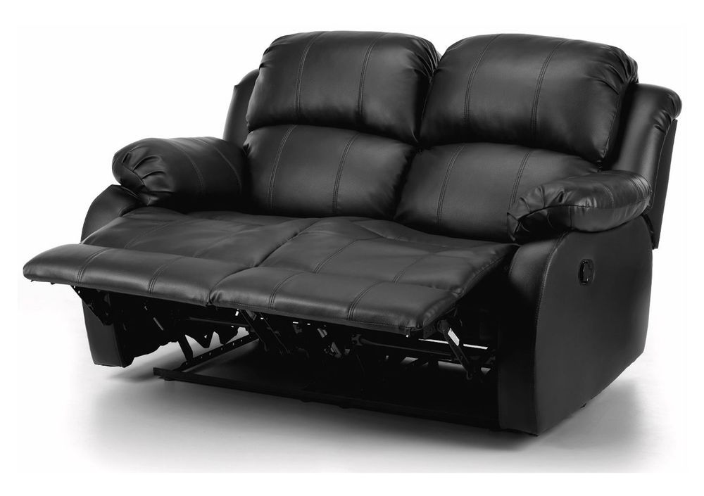 2 Seater Sofa Real Leather Couch Love Seat Recliner Foot Rest