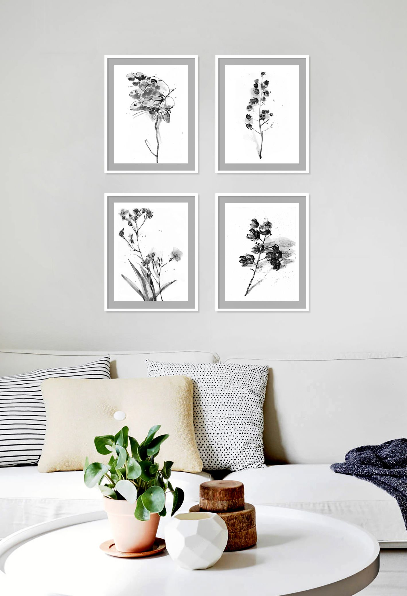 Floral Black And White Art Print Minimalist Set Of 4 Botanical Illustrations Gray Abstract Botanical Wall Art Floral Bw Wall Decor Botanical Wall Art Wall Decor Minimalist Wall Art