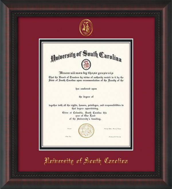 university of south carolina usc diploma frames wseal garnet on black - Wvu Diploma Frame