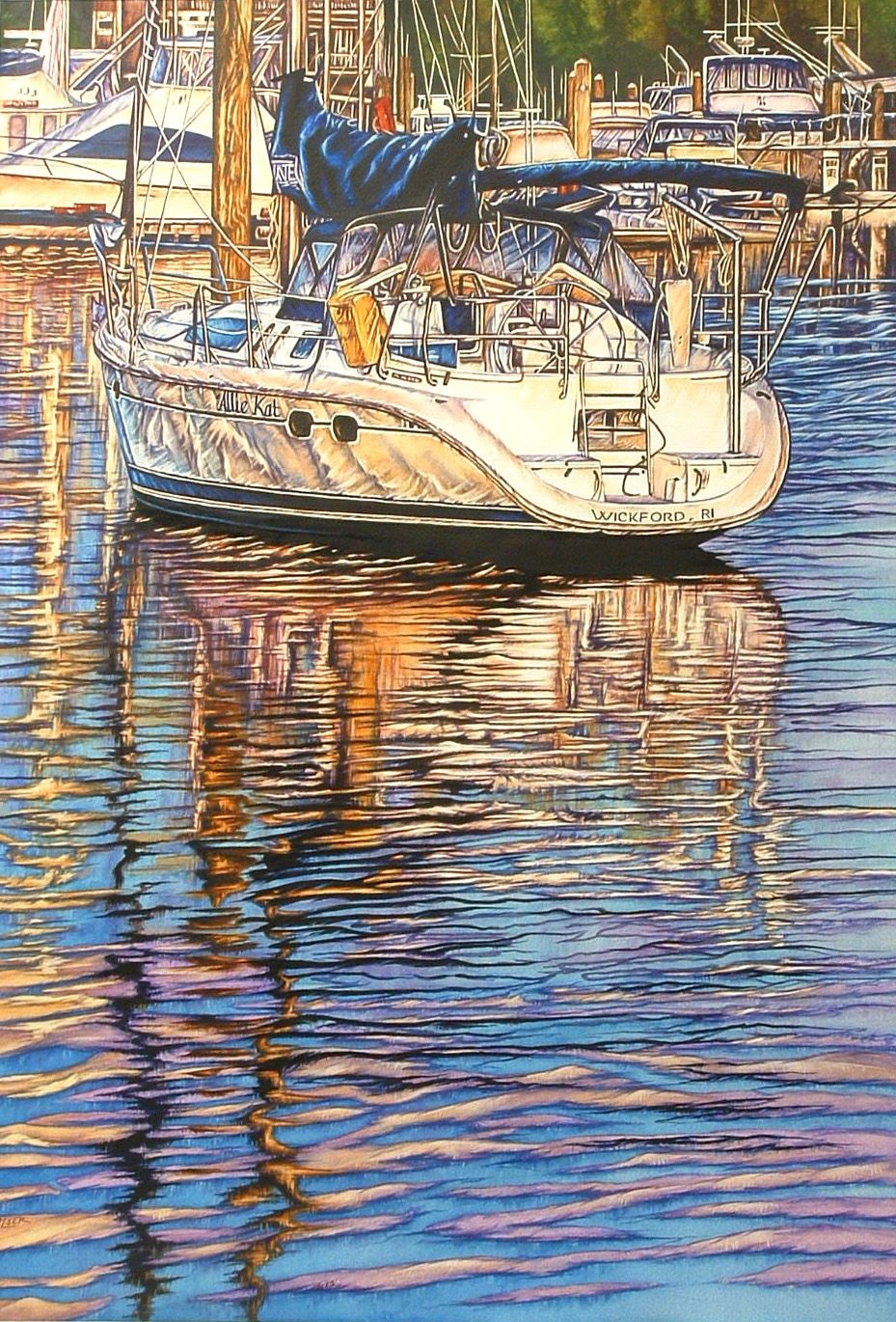 """""""ALLIE KAT"""" by Beth Palser  Original Watercolor  Image: 29 1/2"""" x 20 1/2""""Framed: 38"""" x 29"""""""