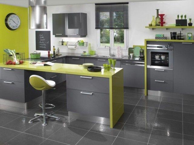 Lapeyre Cuisine Twist Gris Vert W641h478 Jpg 641 478 Pixels Deco Cuisine Grise Cuisines Design Cuisine Gris Anthracite